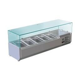 Kühl Aufsatzvitrine 1,2mx0,34m - für 5x1/4 GN-Behälter