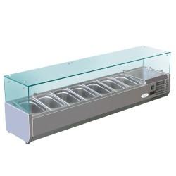 Kühl Aufsatzvitrine 1,6mx0,34m - für 7x1/4 GN-Behälter