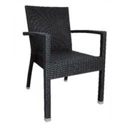 Bolero schwarzer Rattanstuhl aus Kunststoff