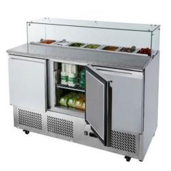 Saladette / Pizzakühltisch 1,37mx0,7m - mit 3 Türen