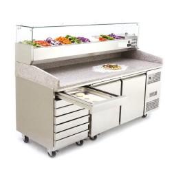 Pizzatisch mit 3 Türen und Schubladen 2025X800X1415, Kühlaufsatzvitrine 9 GN1/3