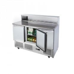 Pizza Möbel 2 Jahre Garantie mit 3 Türen GN 1/1, 7x GN 1/6, +2 °C/+10 °C mit Räder