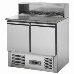 Pizzadette 2 Jahre Garantie mit 2 Türen GN 1/1, 5x GN 1/6, +2 °C/+10 °C mit Räder