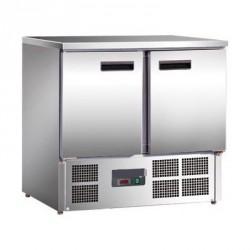 Arbeitstisch mit Kühlschrank, Edelstahl, 2-türig